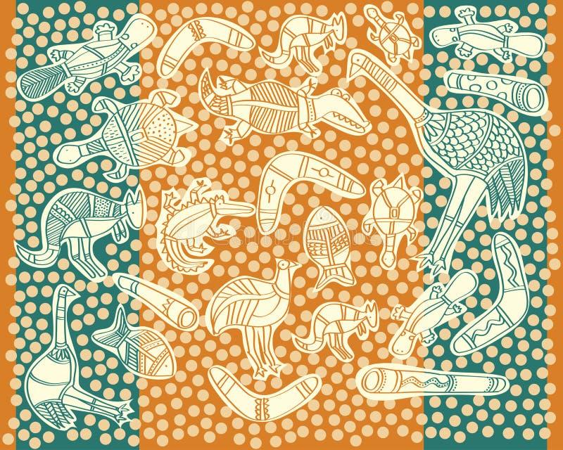 Animals aboriginal. Australian art style drawings stock illustration