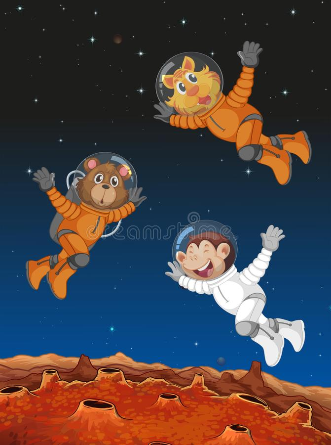 Animals acting as astronauts. Illustration vector illustration