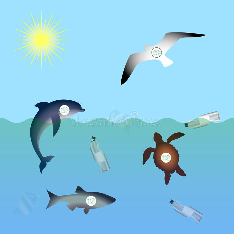Animals affected by microplastic water contamination. Stop plastic pollution. Rumpled Plastic dishes and bags, Fish, dolphin,. Seagull, sea turtle stock illustration