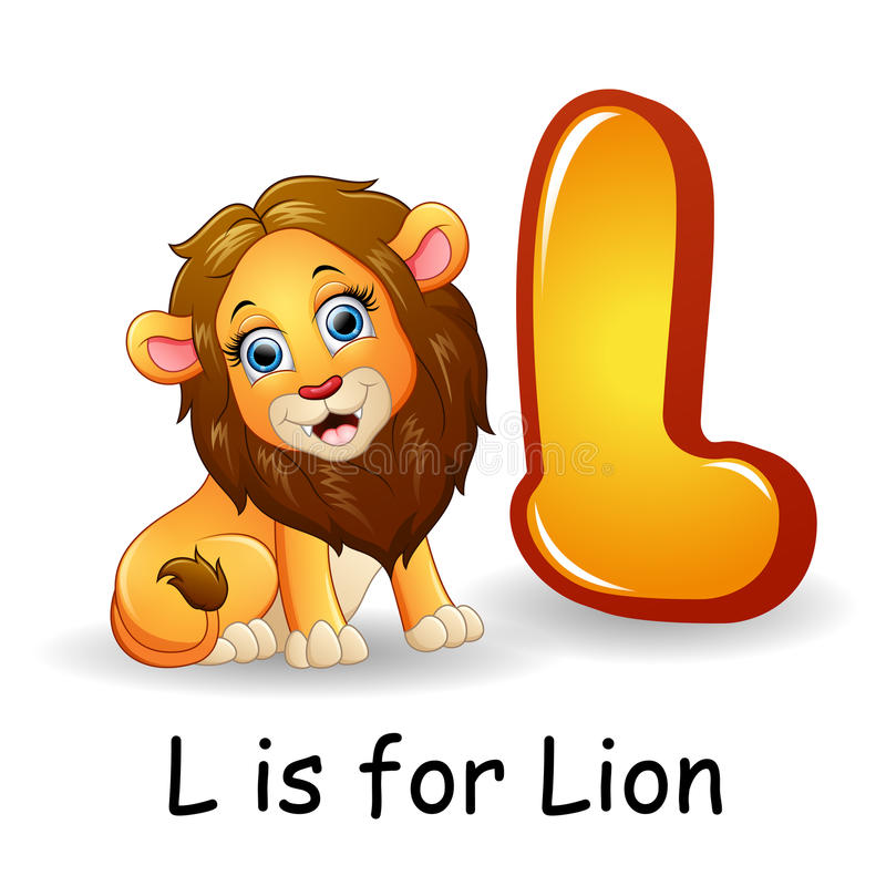 Animals alphabet: L is for Lion. Illustration of Animals alphabet: L is for Lion vector illustration