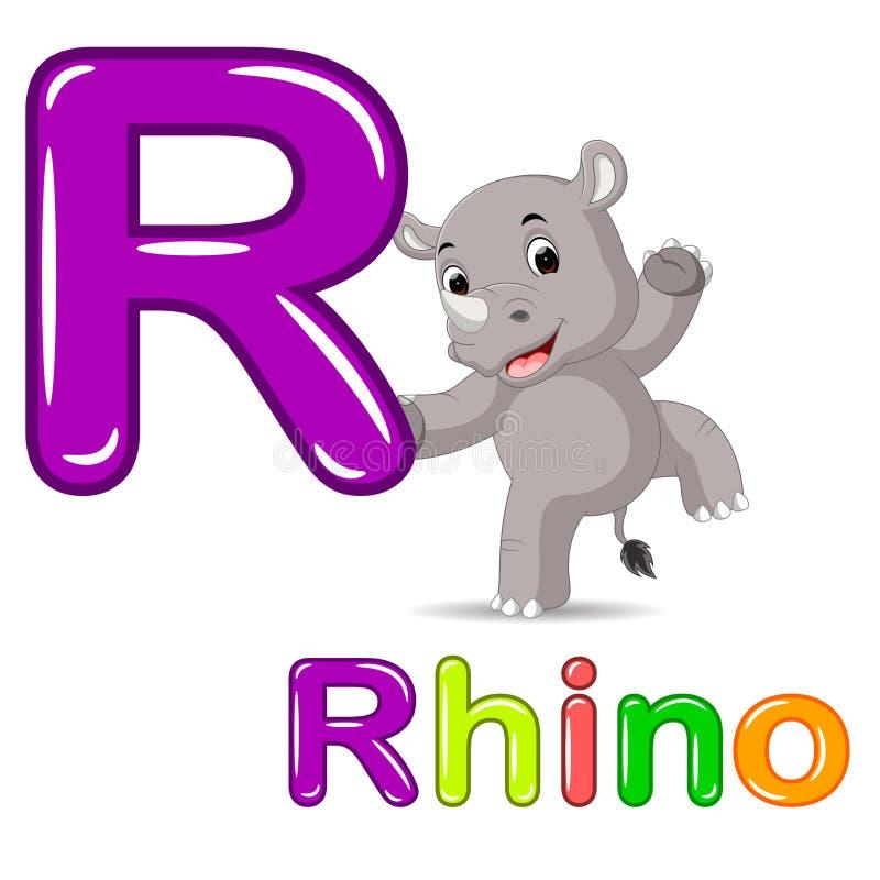 Animals alphabet: R is for Rhino. Illustration of Animals alphabet: R is for Rhino royalty free illustration