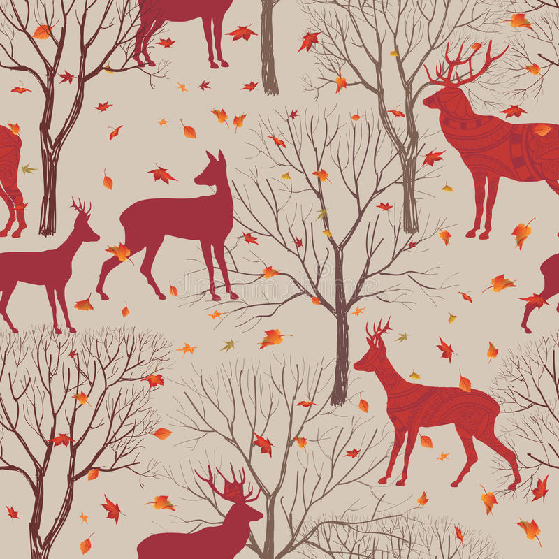 Animals in autumn forest pattern. Fall leaves and trees background. Animals in autumn forest pattern. Fall leaves and trees seamless background. Deer Vintage stock illustration