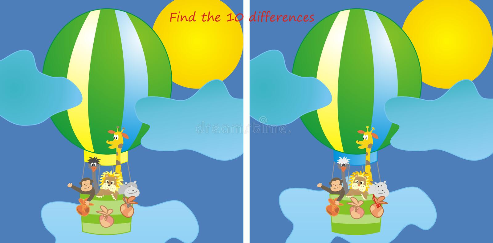 Animals in the balloon-10 differences vector illustration