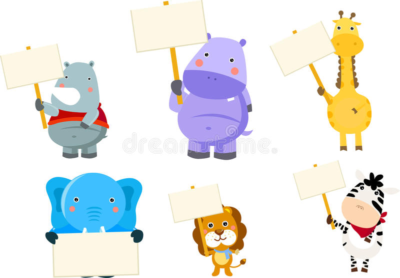 Animals and banner royalty free illustration