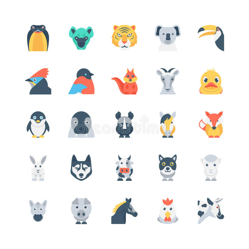 Animals and Birds Colored Vector Icons 4 royalty free illustration