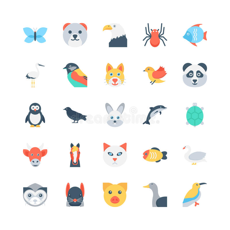 Animals and Birds Colored Vector Icons 1 royalty free illustration