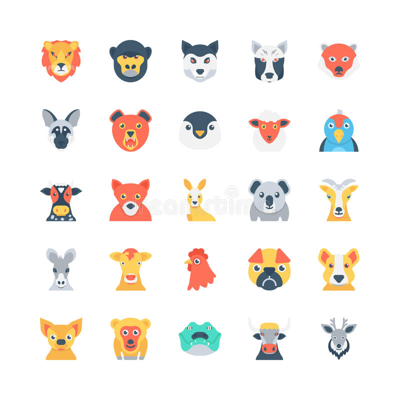 Animals and Birds Colored Vector Icons 3 royalty free illustration