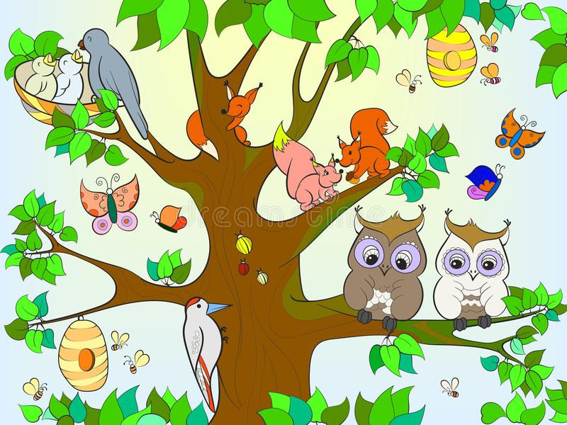 animals and birds living on the tree coloring for children cartoon vector illustration stock. Black Bedroom Furniture Sets. Home Design Ideas