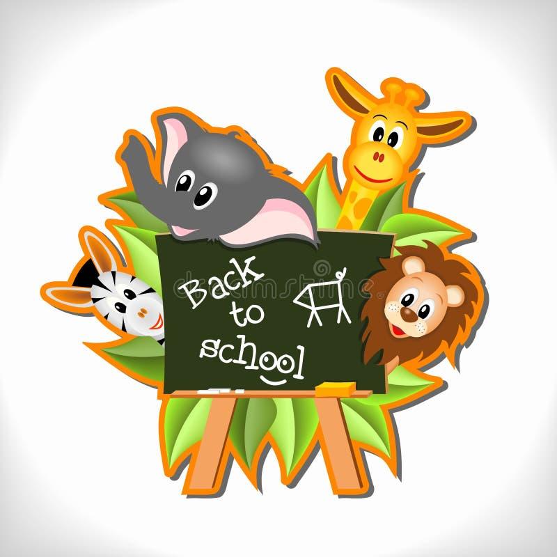 Animals with blackbord - back to school concept. Little cartoon elephant, giraffe, lion and zebra with blackboard and text Back to school - vector illustration vector illustration