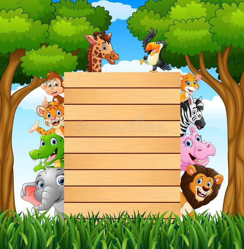 Animals with a blank sign woods in forest vector illustration