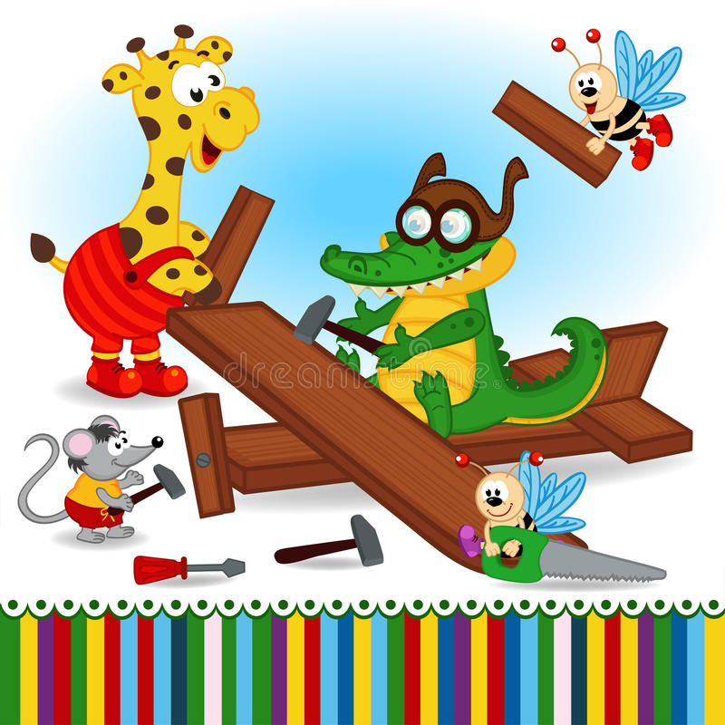Free Animals Build Wooden Plane Stock Photography - 58521372