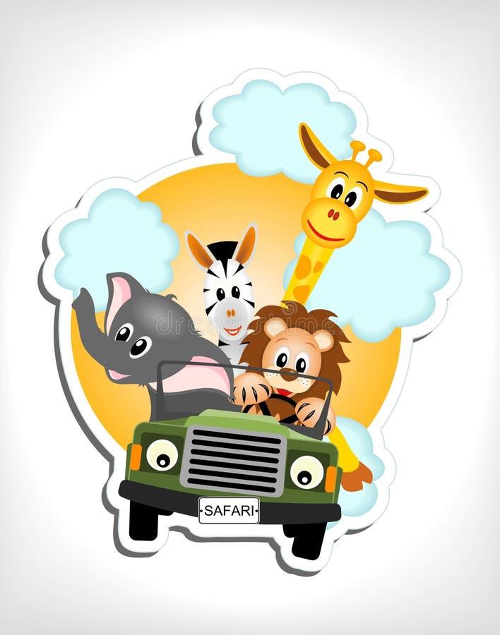 Animals in car stock illustration