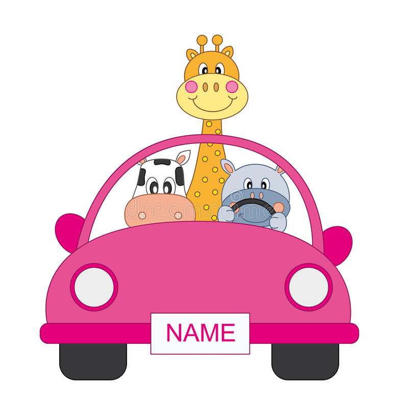 Animals In A Car, Girl Royalty Free Stock Photos