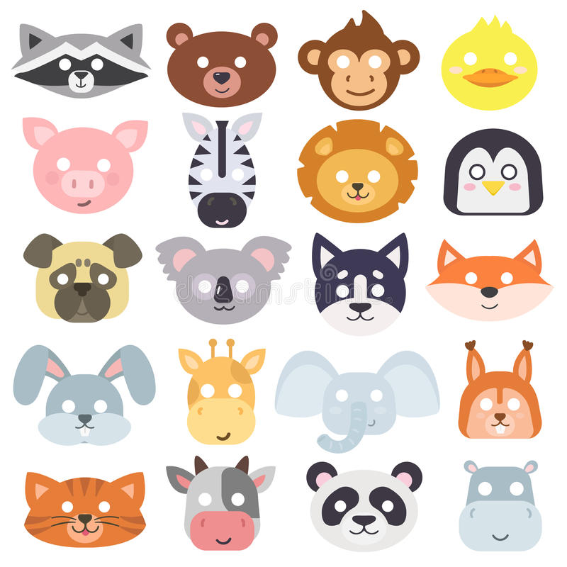 Animals carnival mask vector set. Animals carnival mask vector set festival decoration masquerade. Party costume cute cartoon animals carnival mask. Festival stock illustration