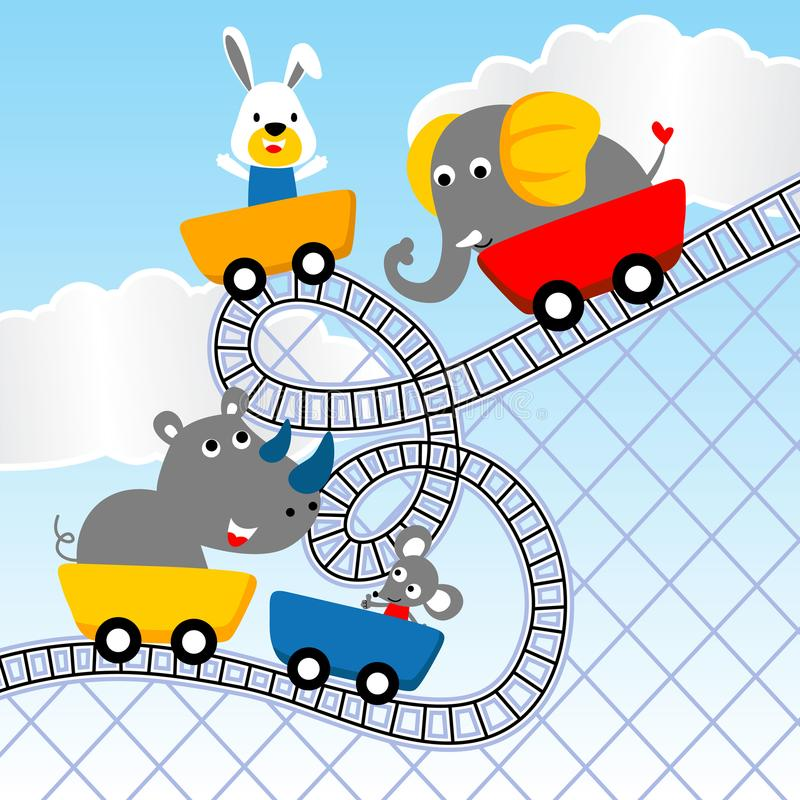 Animals cartoon playing roller coaster. Baby animals cartoon on roller coaster. Vector cartoon illustration, no mesh, vector on eps 10 stock illustration
