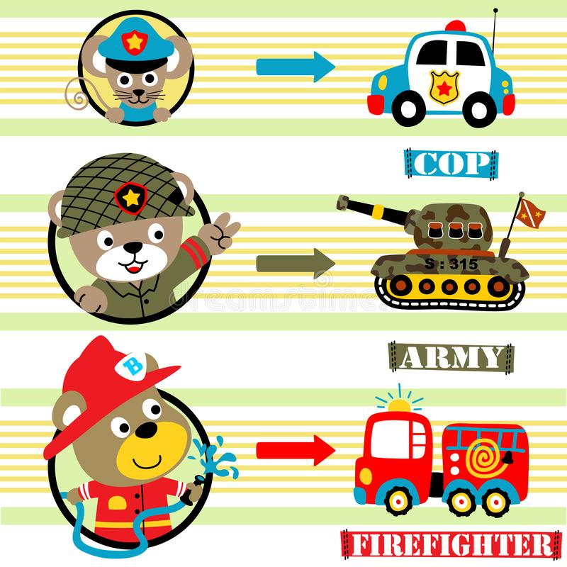 Funny animals cartoon with various vehicles vector illustration