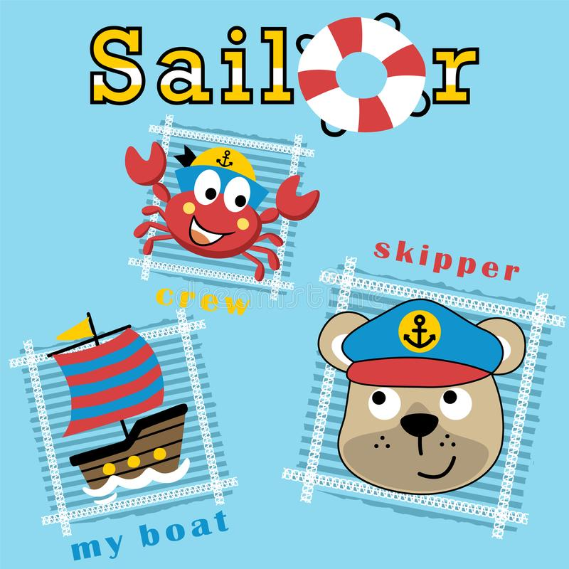 Bear the sailor and crab his crew with sailboat, vector cartoon illustration stock illustration