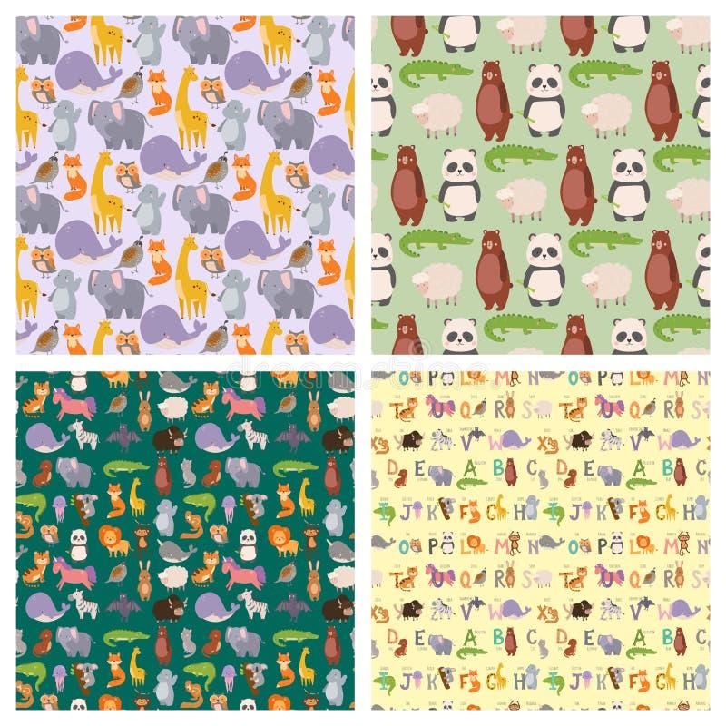Animals cartoon wildlife nature seamless pattern background jungle texture bird colorful retro wallpaper vector stock illustration
