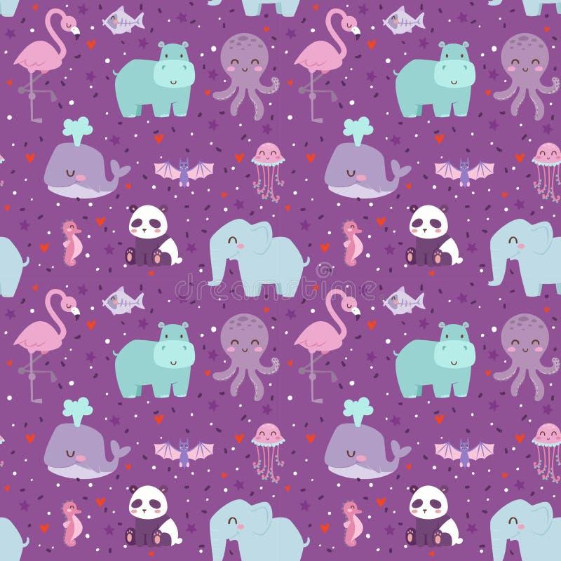 Animals cartoon wildlife nature seamless pattern jungle texture bird colorful retro wallpaper vector vector illustration