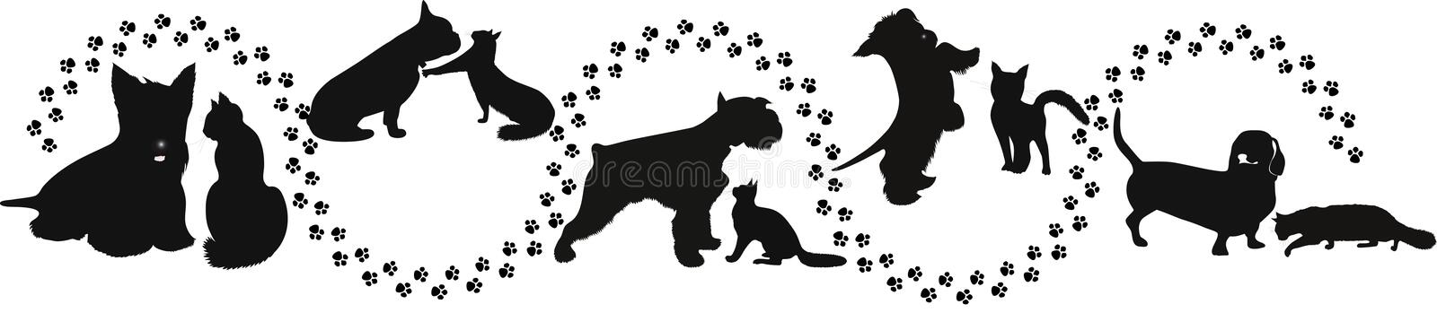 Animals cats and dogs royalty free illustration