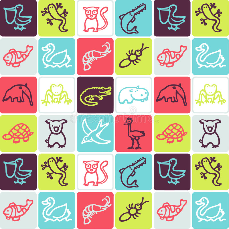 Download Animals checked pattern stock vector. Image of checked - 4337924