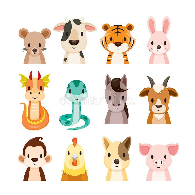 12 Animals Chinese Zodiac Signs Icons Set. Horoscope Astrological Constellation Eastern Fortunetelling stock illustration