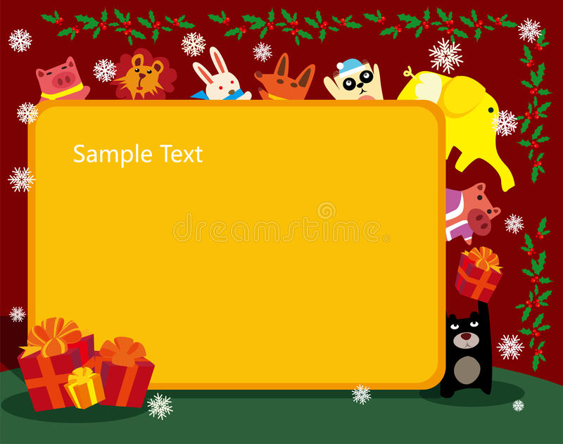Animals christmas frame vector illustration