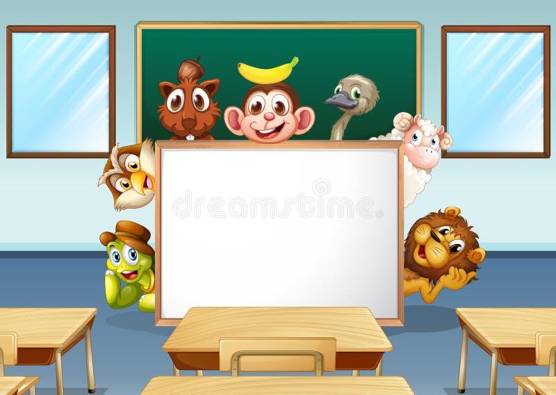 Animals in classroom royalty free illustration