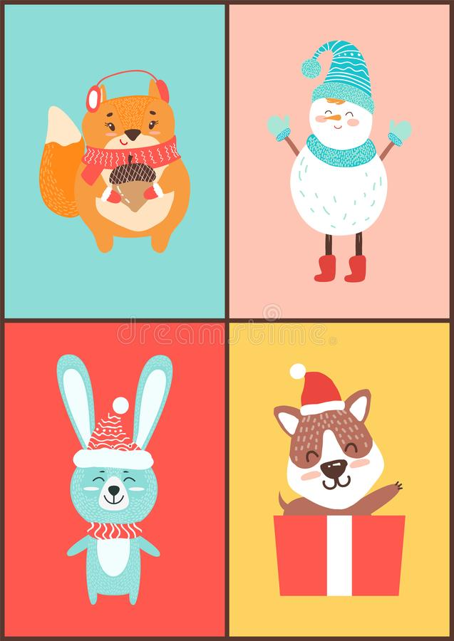 Animals Collection of Cards on Vector Illustration vector illustration