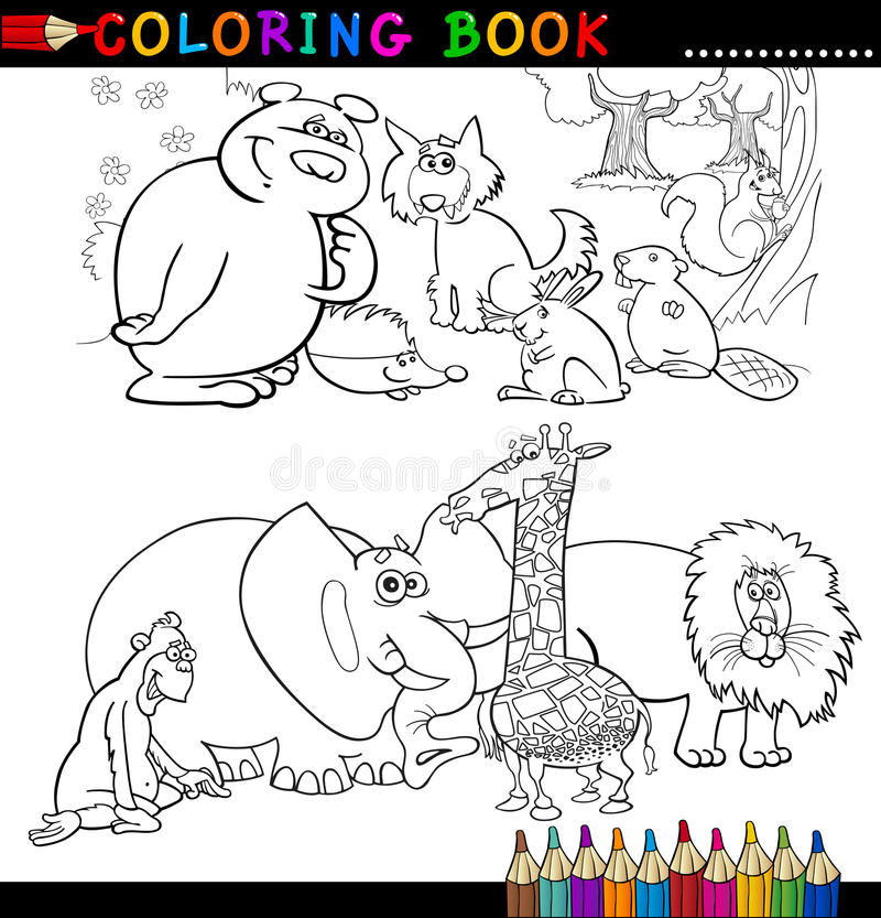 Download Animals For Coloring Book Or Page Stock Vector - Image: 26423163
