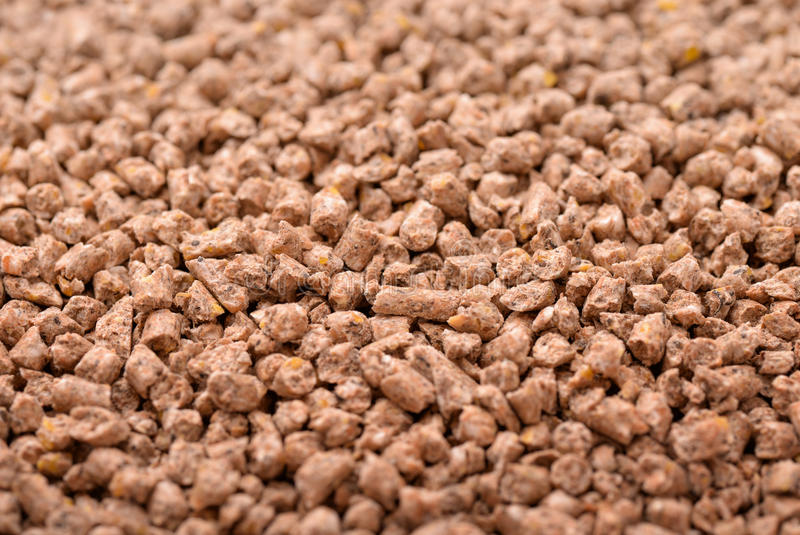 Animals compound feed pellets stock image