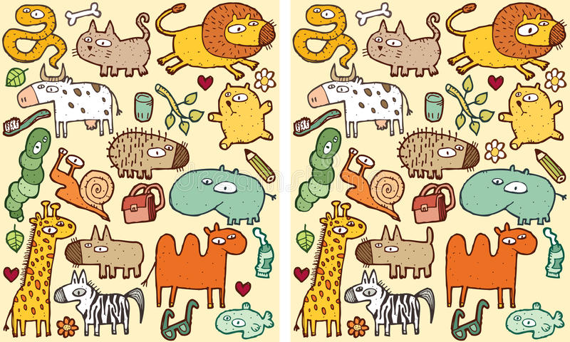 Animals Differences Visual Game vector illustration