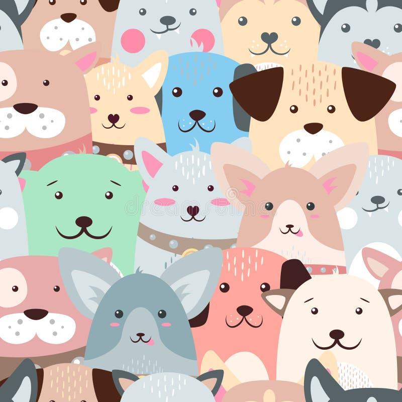 Animals, dog - cute, funny pattern. stock illustration