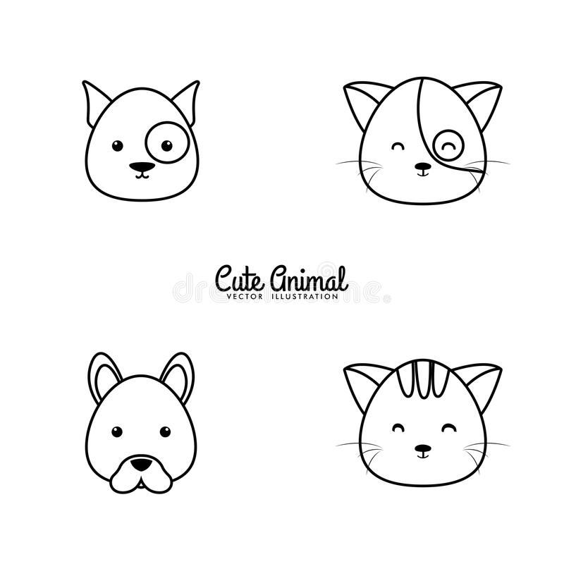 Animals Drawing Face. Abstract animals line drawing face on a white background vector illustration