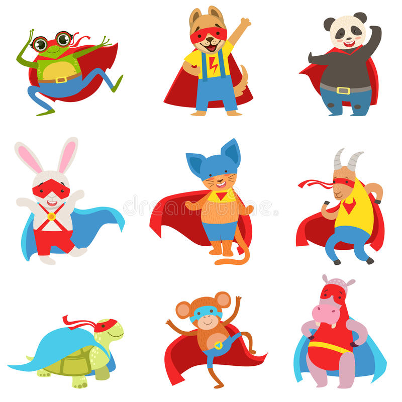 Animals Dressed As Superheroes With Capes And Masks Set royalty free illustration