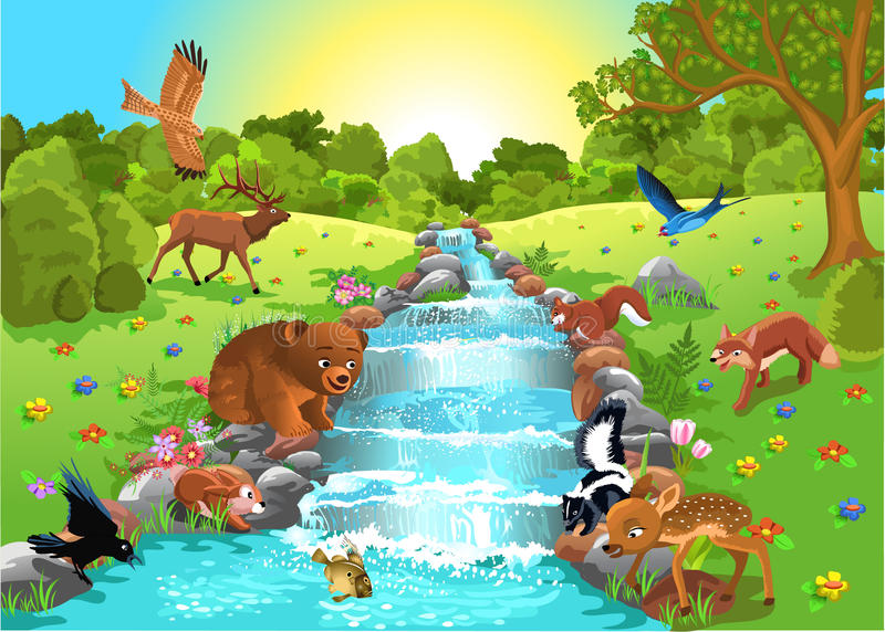 Animals drinking water. Cartoon animals coming to the brook to drink water