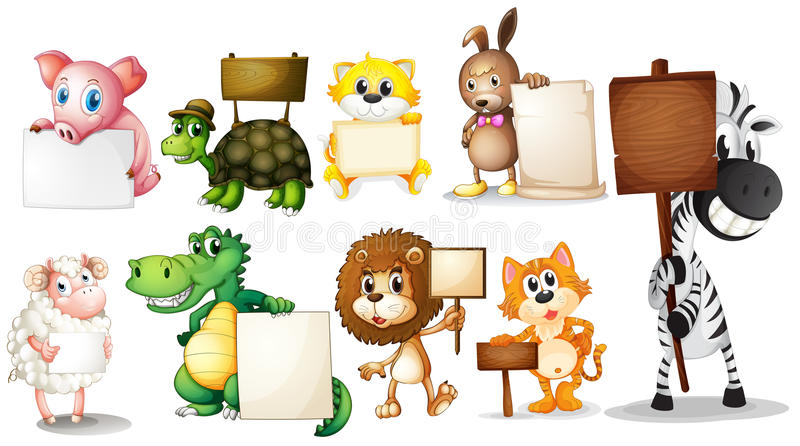 Animals with empty signboards vector illustration
