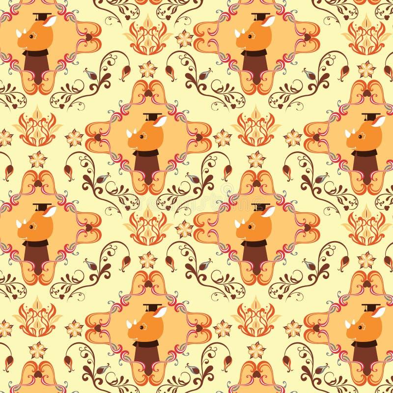 animals f floral pattern seamless иллюстрация вектора