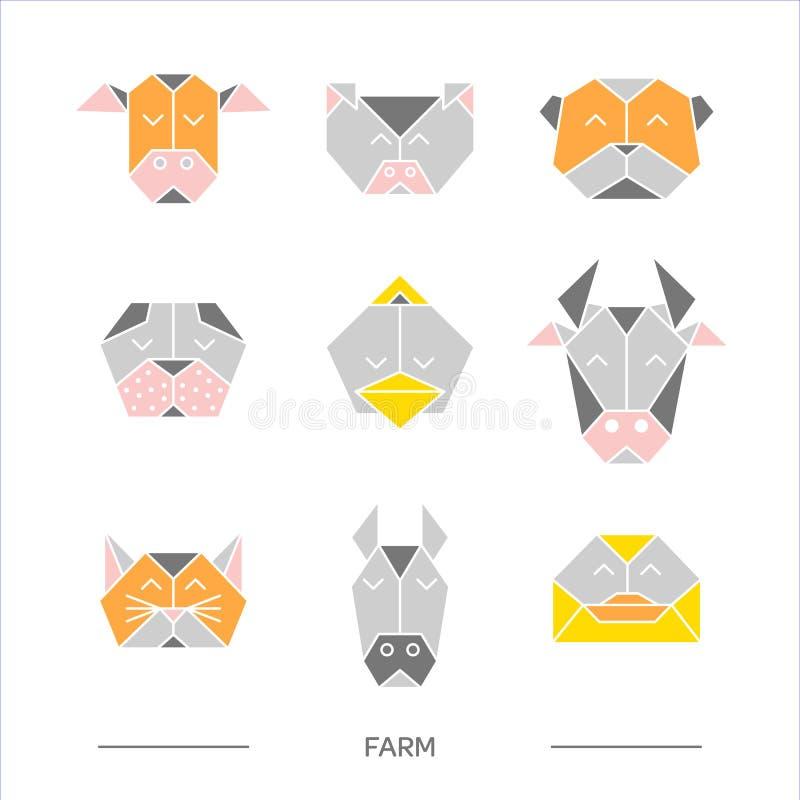 Animals farm origami 10 stock illustration