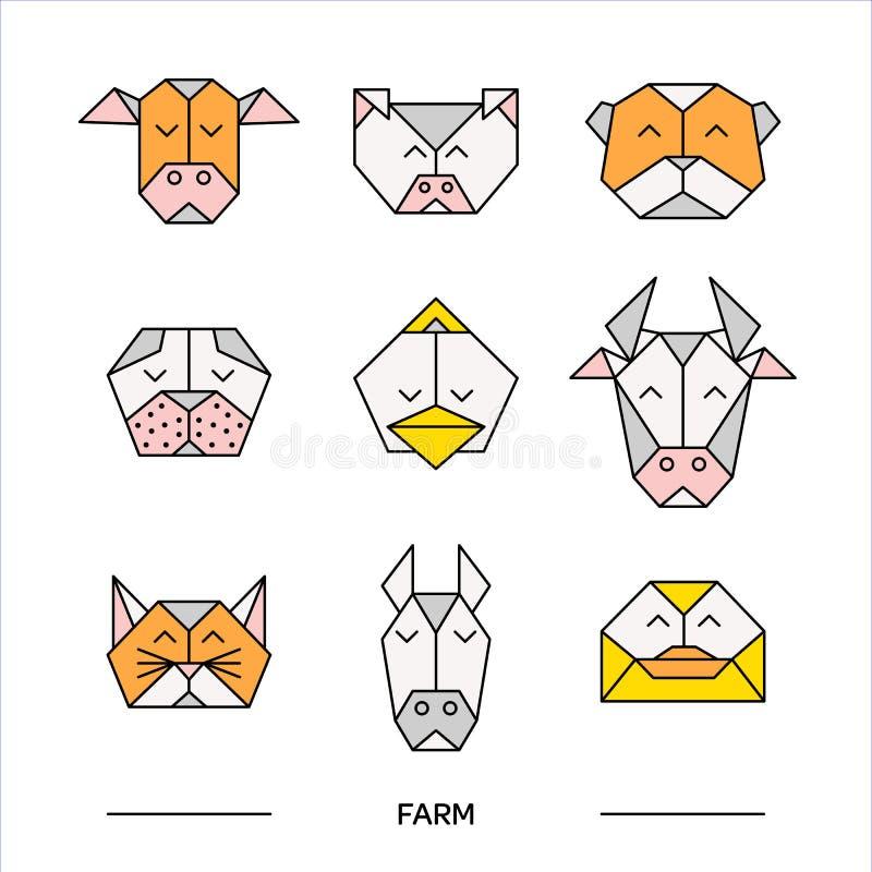 Animals farm origami 11 vector illustration