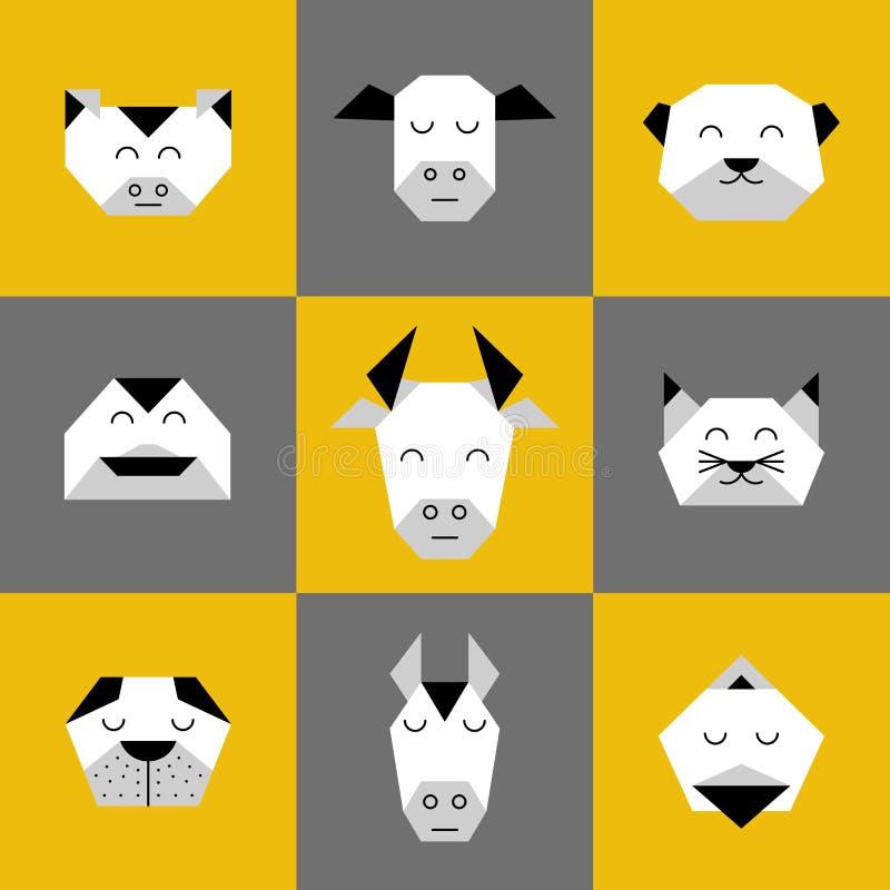 Animals farm origami 6 stock illustration