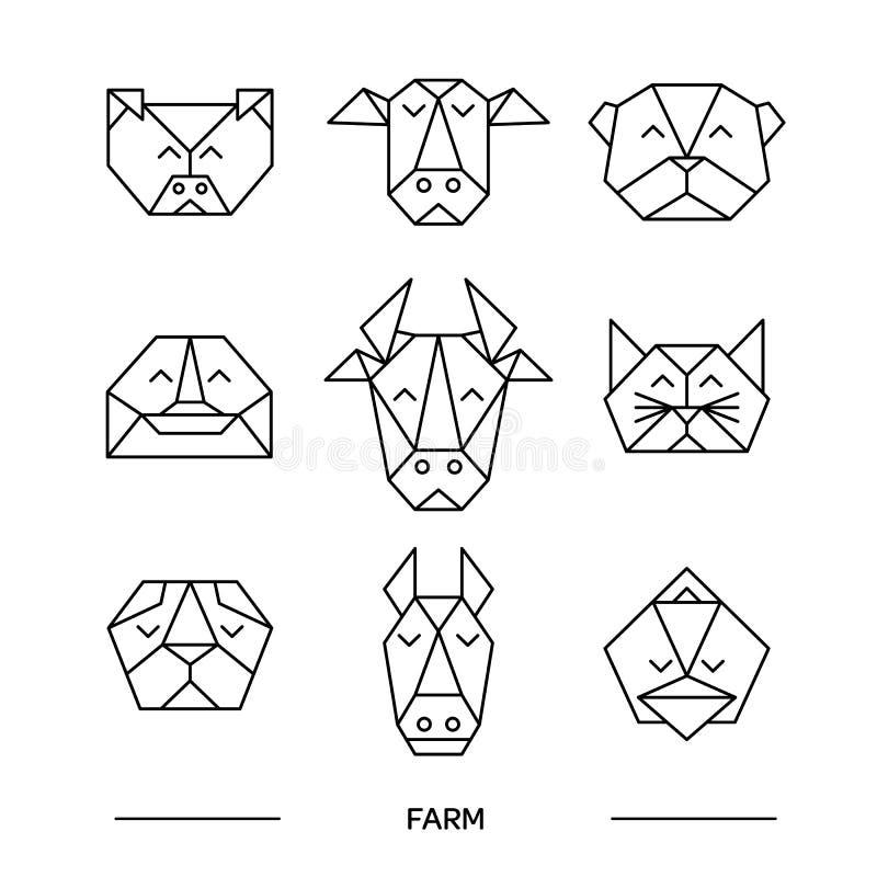 Animals farm origami 9. Origami vector animals set. Animal triangle heads. Vector origami animals. Geometric line design icon set. Vector origami animals for vector illustration