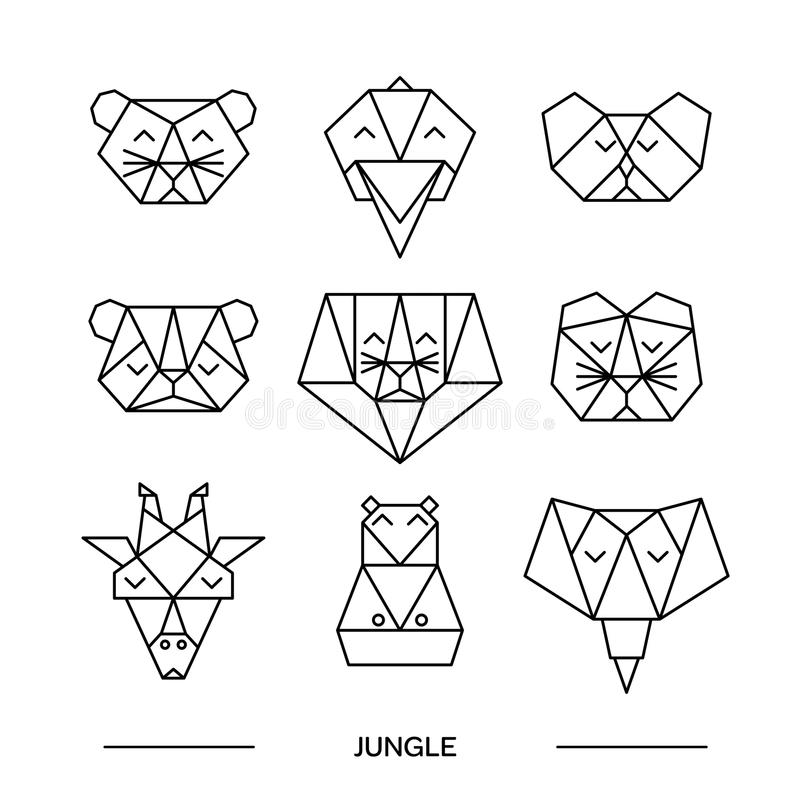 Animals farm origami 9. Origami vector animals set. Animal triangle heads. Vector origami animals. Geometric line design icon set. Vector origami animals for royalty free illustration