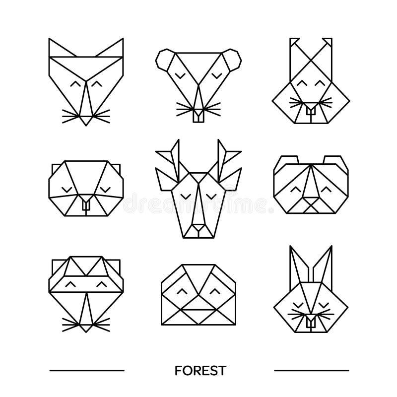 Animals farm origami 9. Origami vector animals set. Animal triangle heads. Vector origami animals. Geometric line design icon set. Vector origami animals for stock illustration