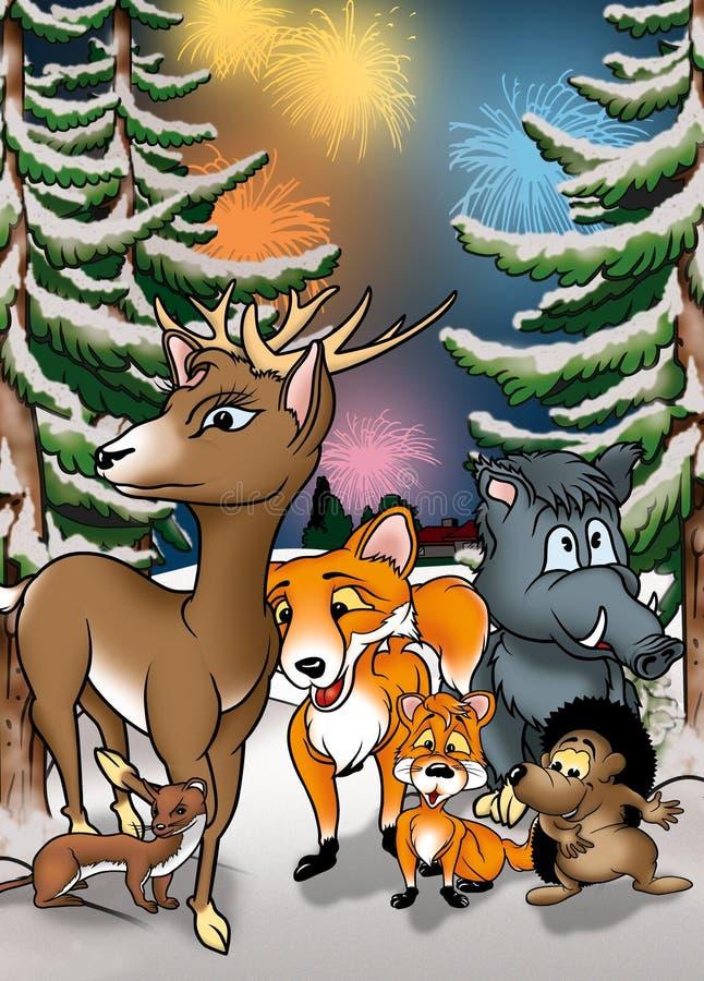 Download Animals and Fireworks stock illustration. Illustration of forest - 19757003