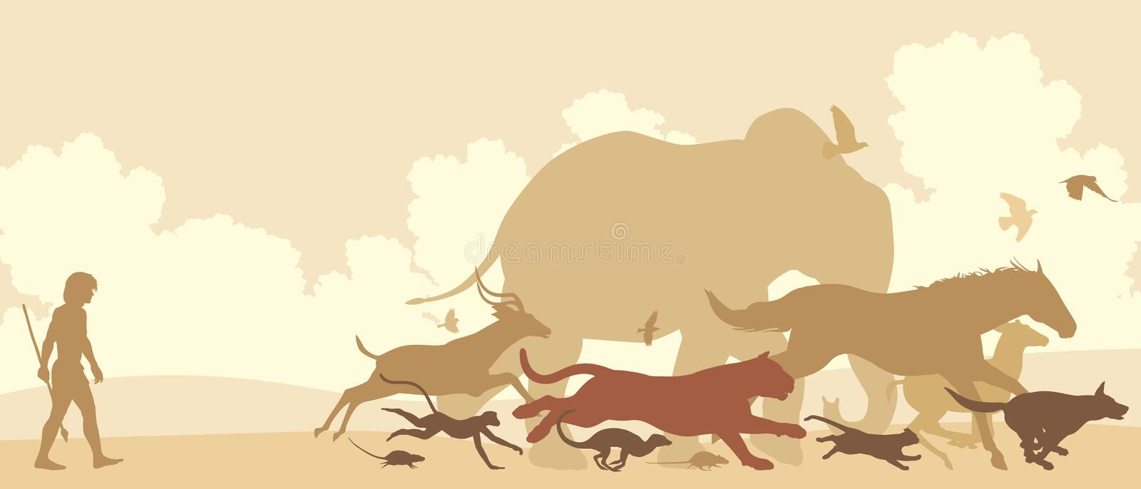 Animals fleeing man. Editable vector silhouettes of diverse animals running away from an early man vector illustration