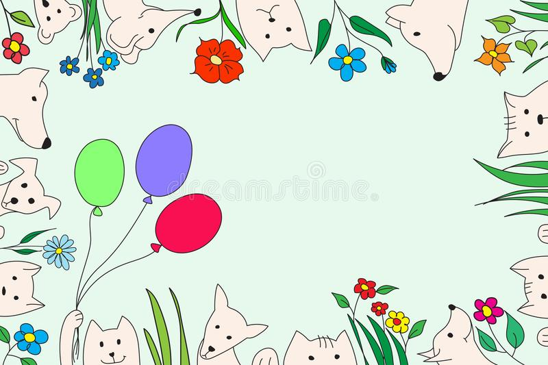 Animals with flowers and balloons. Vector drawing, handmade. royalty free stock images