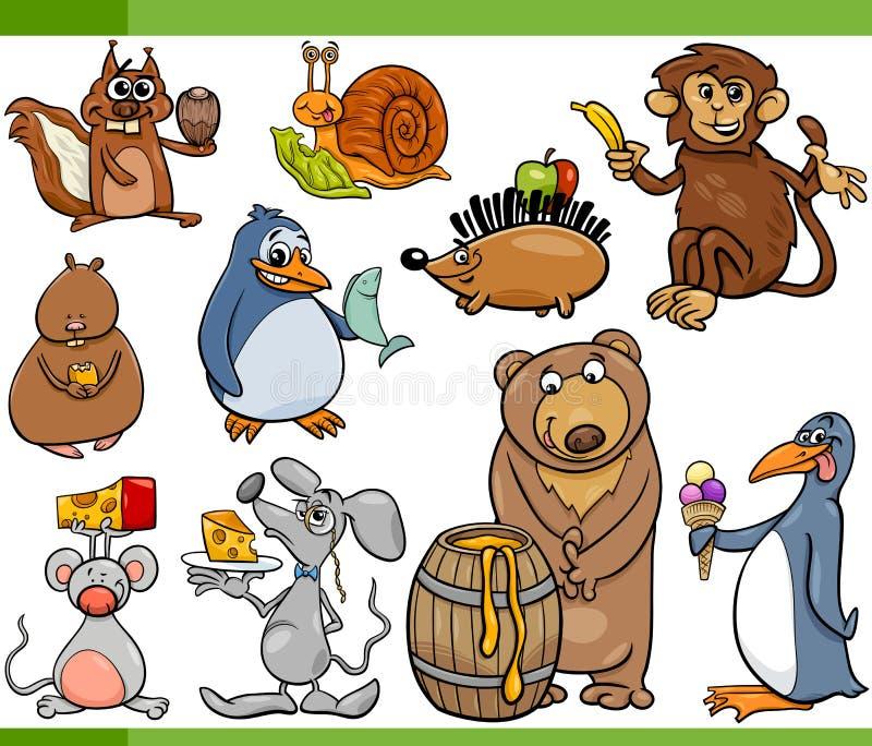 Animals and food cartoon set stock vector image