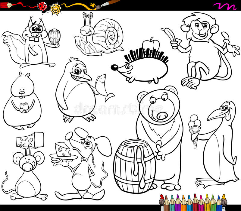 Animals And Food Coloring Page Stock Vector - Illustration of ...