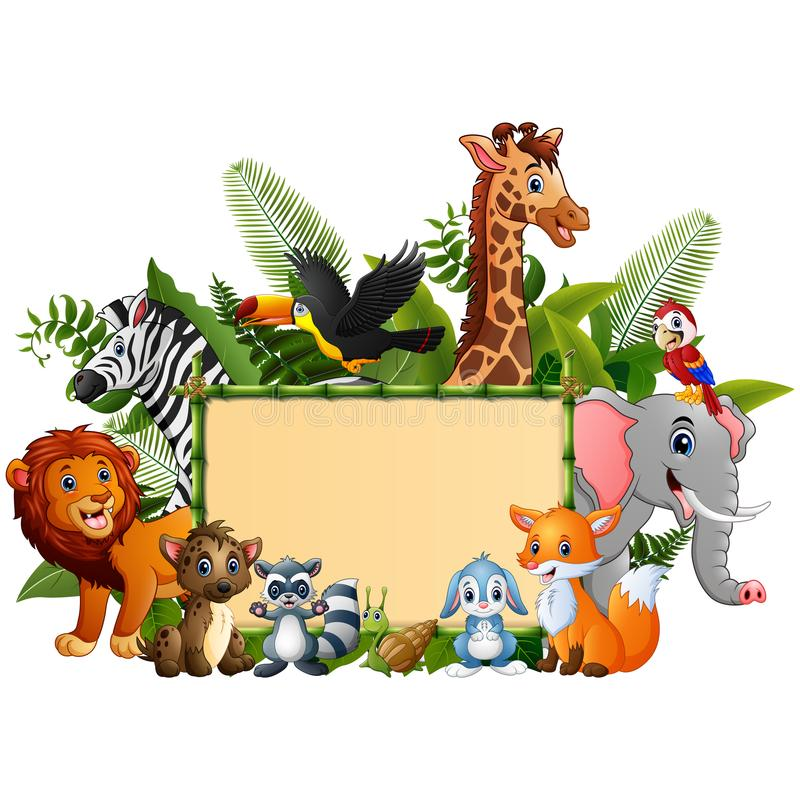 Animals forest cartoon with blank sign bamboo. Illustration of animals forest cartoon with blank sign bamboo stock illustration
